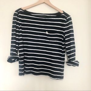 Abercrombie & Fitch Striped 3/4 Sleeve T Shirt